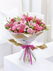 Happy Birthday Pink Lily, Rose and Lisianthus Hand-Tied