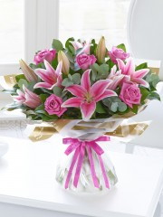 Happy Birthday Pink Rose and Lily Hand-tied with Happy Birthday Balloon
