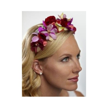 Vibrant Orchid and Rose Headband